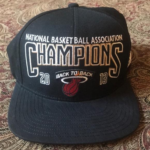 sale retailer 37e66 5e5bc adidas Other - NBA Miami Heat Locker Room Championship Hat
